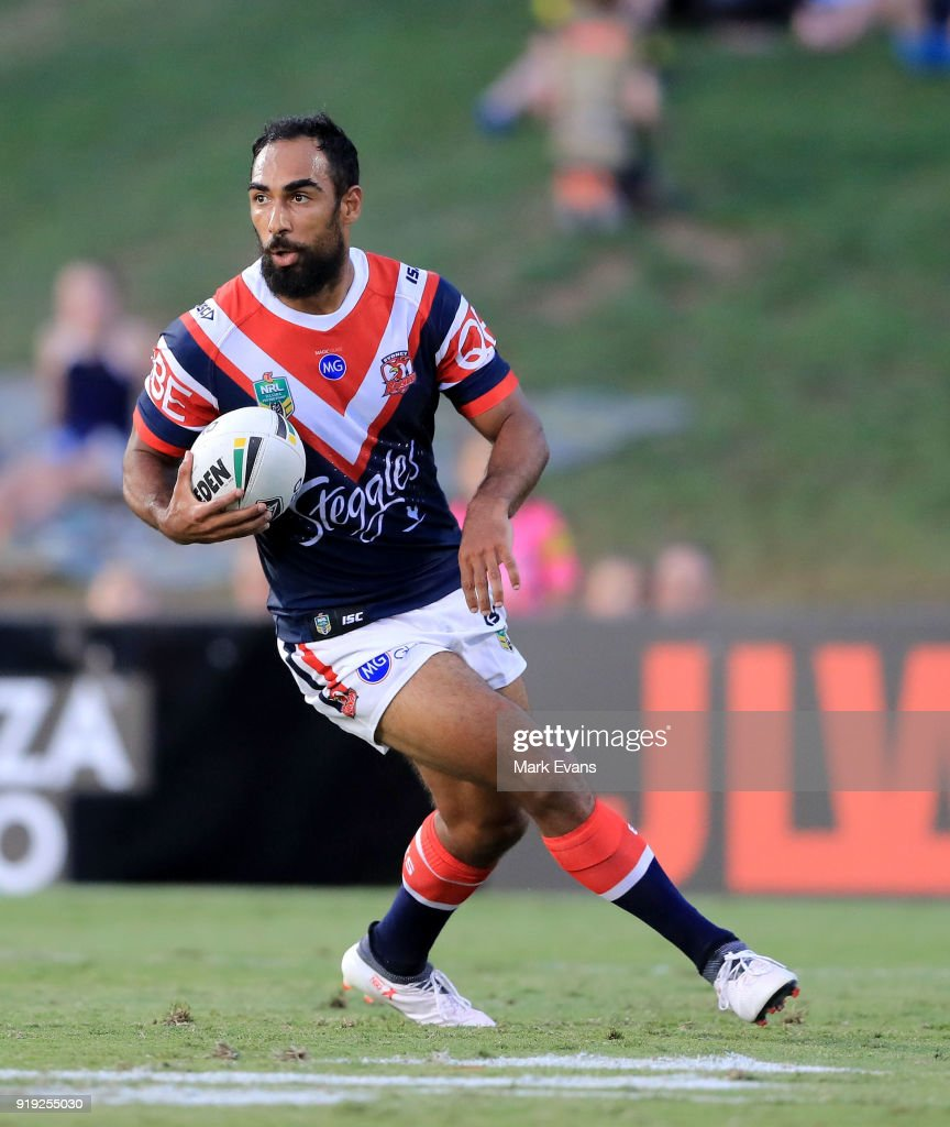 Reece Robinson of the Roosters runs with the ball during the NRL trial match between the Penrith Panthers and the Sydney Roosters at Penrith Stadium on February 17, 2018 in Sydney, Australia.