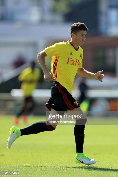 Reece Stray of Watford in action during the preseason friendly match between Woking and Watford U23 at the Laithwaite Community Stadium on July 08...