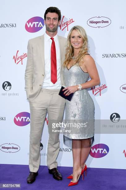 Reece Topley and Elina Svitolina attend the WTA PreWimbledon party at Kensington Roof Gardens on June 29 2017 in London England