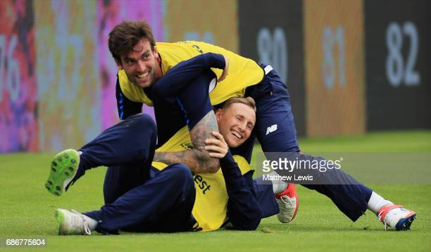 Reece Topley and Joe Root of England pictured during an England nets session at Headingley Carnegie on May 22, 2017 in Leeds, England.