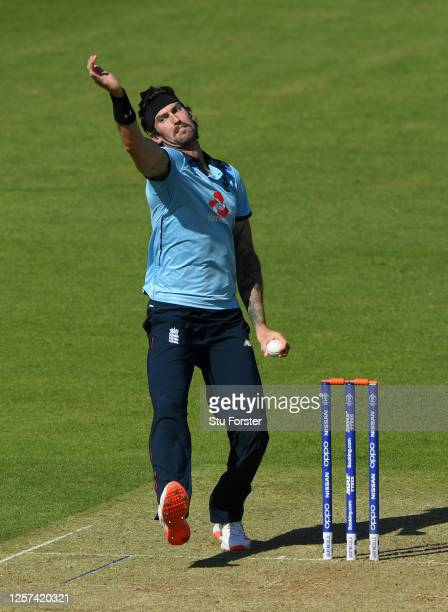 Reece Topley of England bowls during a England One Day Squad Warm Up Match at The Ageas Bowl on July 21, 2020 in Southampton, England.