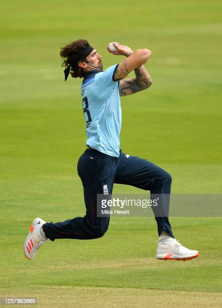 Reece Topley of England bowls during a England One Day Squad Warm up match at The Ageas Bowl on July 24, 2020 in Southampton, England.