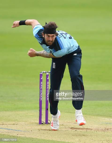 Reece Topley of England bowls during the second One Day International against Ireland at the Ageas Bowl on August 01, 2020 in Southampton, England.