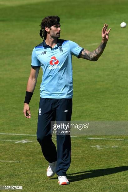 Reece Topley of England catches the ball during a England One Day Squad Warm Up Match at The Ageas Bowl on July 21, 2020 in Southampton, England.
