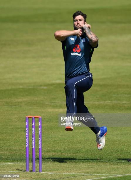 Reece Topley of England Lions bowls during the Tri-Series International match between England Lions v West Indies A at The County Ground on June 28,...