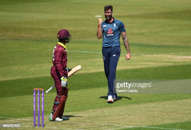 Reece Topley of England Lions celebrates dismissing Andre McCarthy of West Indies A during the Tri-Series International match between England Lions v...