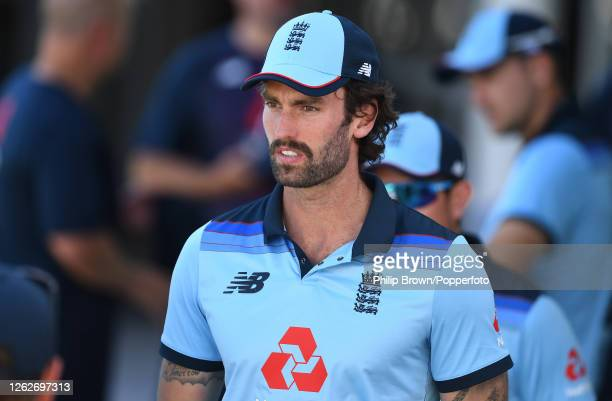 Reece Topley of England looks on before the first Royal London One Day International against Ireland at Ageas Bowl on July 30, 2020 in Southampton,...