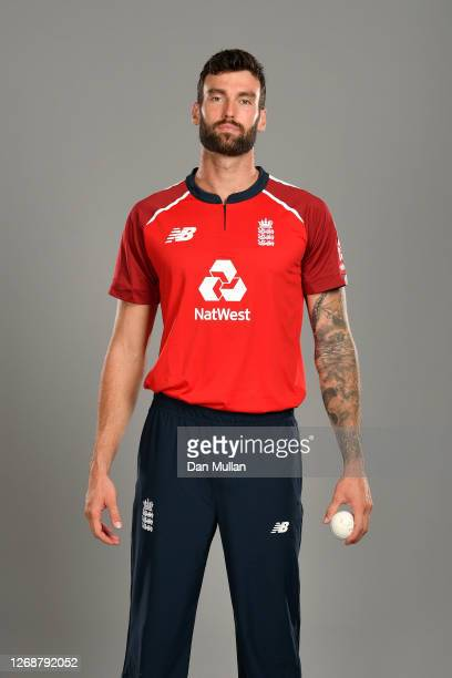 Reece Topley of England poses during the England Squad Portrait Session at Emirates Old Trafford on August 26, 2020 in Manchester, England.