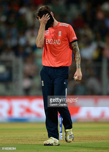 Reece Topley of England reacts after bowling during the ICC World Twenty20 India 2016 Super 10s Group 1 match between South Africa and England at...
