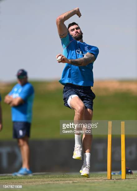 Reece Topley of England warms up ahead of the England and New Zealand warm Up Match prior to the ICC Men's T20 World Cup at on October 20, 2021 in...