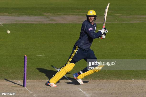 Reece Topley of Hampshire hits out during the Royal London OneDay Cup match between Sussex and Hampshire at The 1st Central County Ground on May 19...