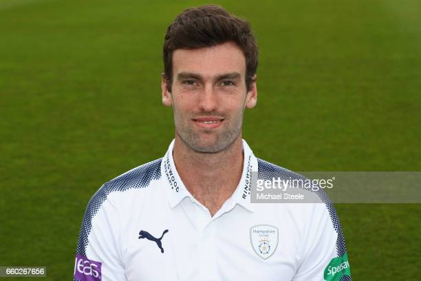 Reece Topley of Hampshire poses in the Specsavers County Championship kit during the Hampshire County Cricket photocall at the Ageas Bowl on March...