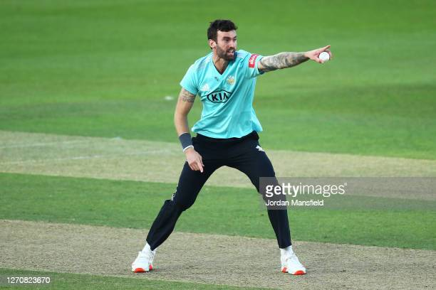 Reece Topley of Surrey appeals unsuccessfully during the T20 Vitality Blast match between Surrey and Middlesex at The Kia Oval on September 05, 2020...