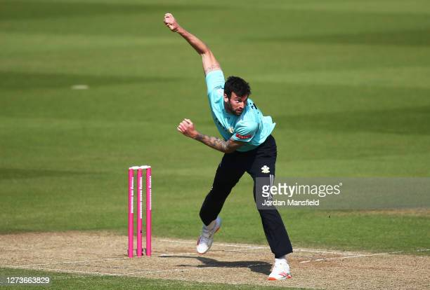 Reece Topley of Surrey bowls during the T20 Vitality Blast match between Surrey and Kent Spitfires at The Kia Oval on September 20, 2020 in London,...