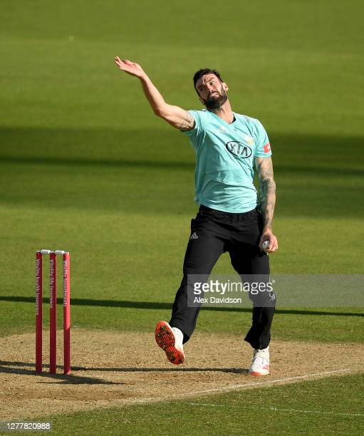 Reece Topley of Surrey bowls during the Vitality Blast Quarter-Final match between Surrey and Kent Spitfires at The Kia Oval on October 01, 2020 in...