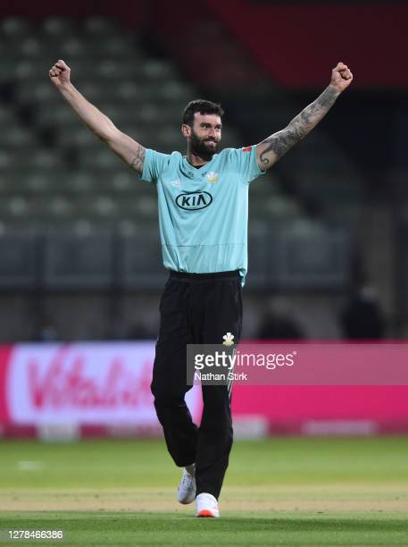 Reece Topley of Surrey celebrates after getting Alex Hayles of Nottingham out during the Vitality Blast 2020 final match between Surrey and Notts...