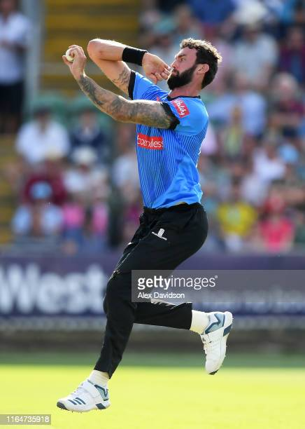 Reece Topley of Sussex bowls during the Vitality Blast match between Somerset and Sussex Sharks at The Cooper Associates County Ground on July 28,...