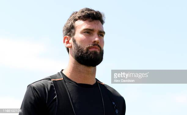 Reece Topley of Sussex during the Vitality Blast match between Somerset and Sussex Sharks at The Cooper Associates County Ground on July 28, 2019 in...