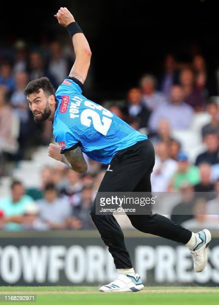 Reece Topley of Sussex Sharks bowls during the Vitality T20 Blast match between Surrey and Sussex at The Kia Oval on August 15, 2019 in London,...