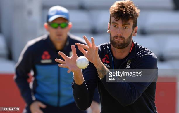 Reece Topley of the England Lions catches a ball during a training session at the 3aaa County Ground on June 21 2018 in Derby England