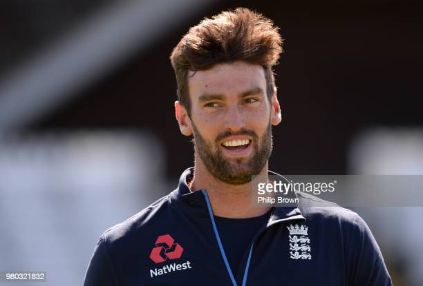 Reece Topley of the England Lions looks on during a training session at the 3aaa County Ground on June 21, 2018 in Derby, England.