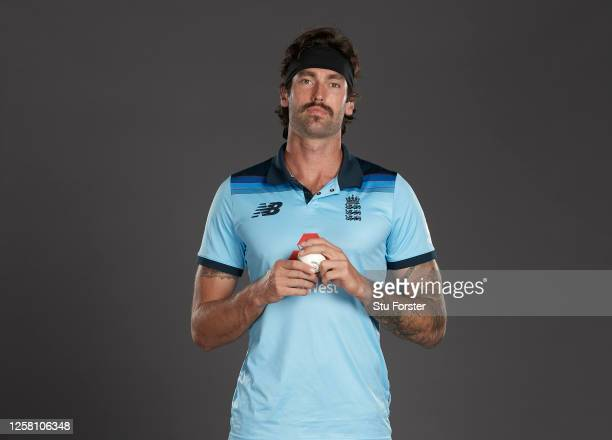 Reece Topley poses for a portrait during the England One Day International Squad Photo call at Ageas Bowl on July 24, 2020 in Southampton, England.