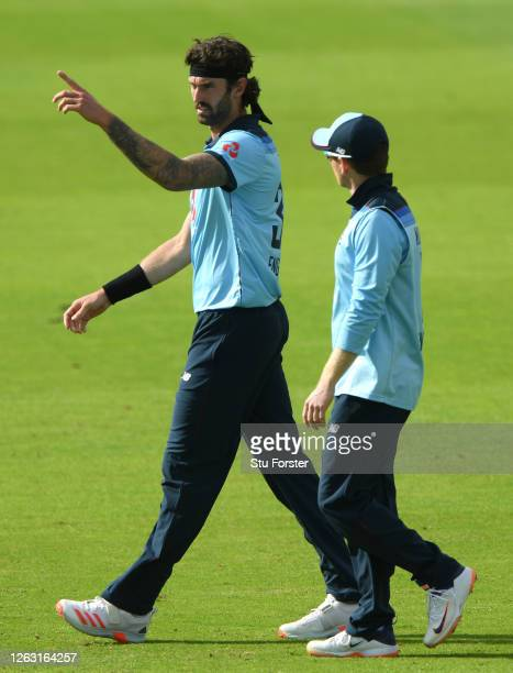 Reece Topley speaks to Eoin Morgan of England during the Second One Day International between England and Ireland in the Royal London Series at The...