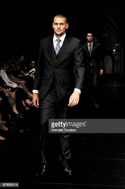 Reece Ulrich showcases designs by Dom Bagnato on the catwalk at the Myer Autumn Winter 2010 Collection Launch at Sidney Myer Music Bowl on March 15,...