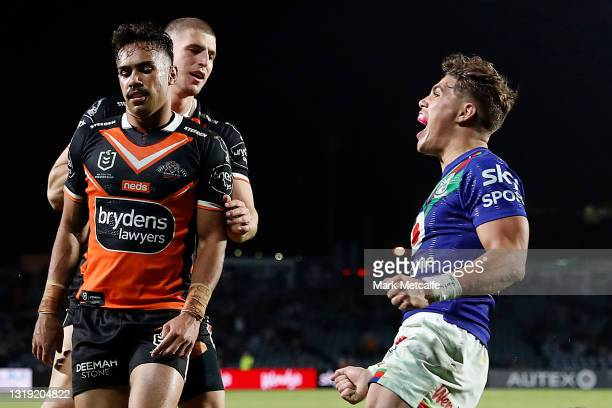 Reece Walsh of the Warriors celebrates victory on the final whistle during the round 11 NRL match between the New Zealand Warriors and the Wests...