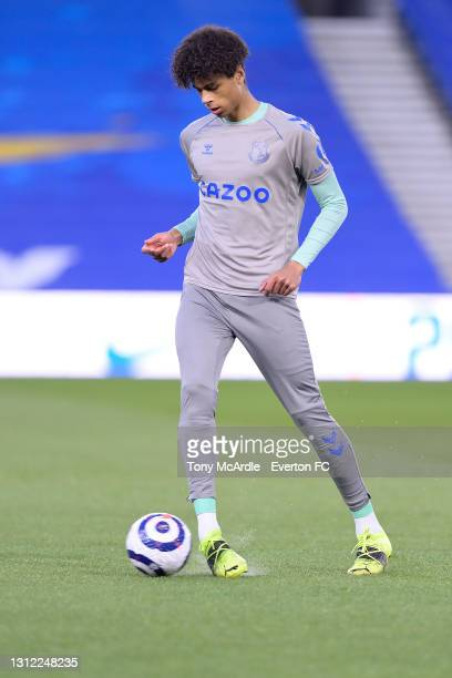 Reece Welch warms up before the Premier League match between Brighton and Hove Albion and Everton at the American Express Community Stadium on April...