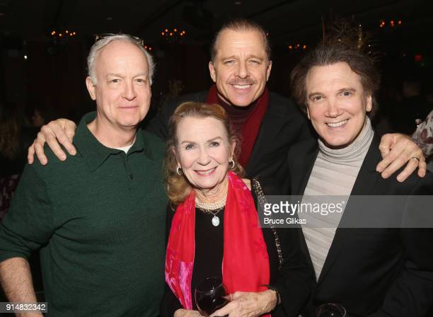 Reed Birnet Maxwell Caulfield wife Juliet Mills and Charles Busch pose at the opening night party for Martin McDonagh's new play Hangman at The...