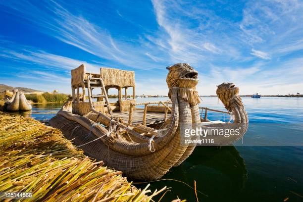 reed boat in lake titicaca, peru - peru stock pictures, royalty-free photos & images