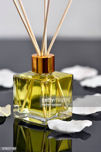 Reed diffuser air freshener and rose petals