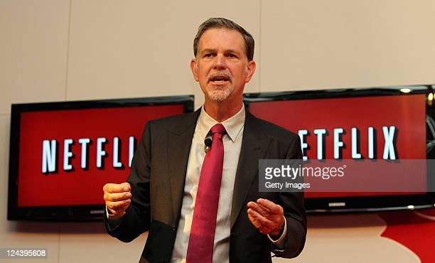 Reed Hastings CEO and founder of Netflix talks for the international press during the launch of Netflix in Colombia on September 9 2011 in...