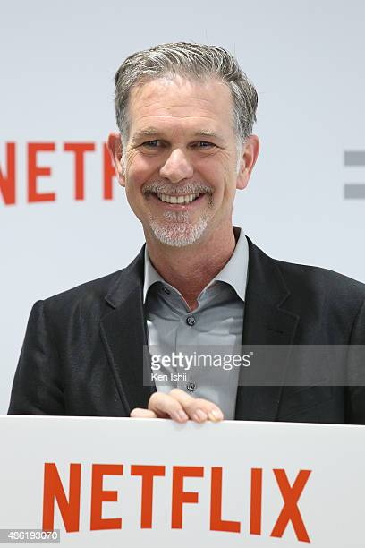 Reed Hastings founder and CEO of Netflix Inc attends the launch event for Netflix service in Japan at SoftBank Ginza store on September 2 2015 in...