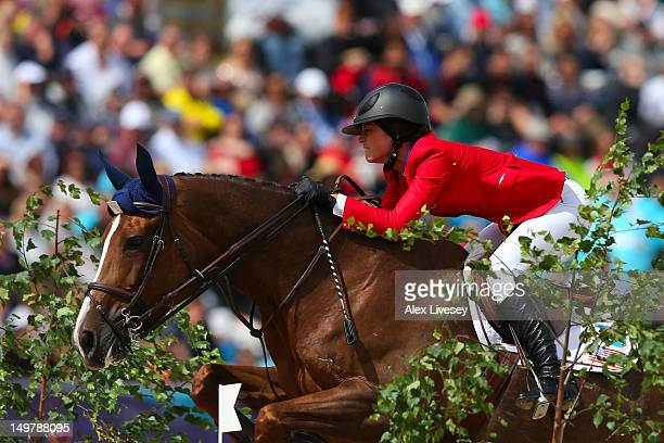 Reed Kessler of the United States riding Cylana competes in the 1st Qualifier of Individual Jumping on Day 8 of the London 2012 Olympic Games at...