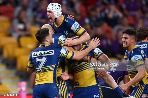 Reed Mahoney of the Eels celebrates a try with team mates during the NRL Qualifying Final match between the Melbourne Storm and the Parramatta Eels...