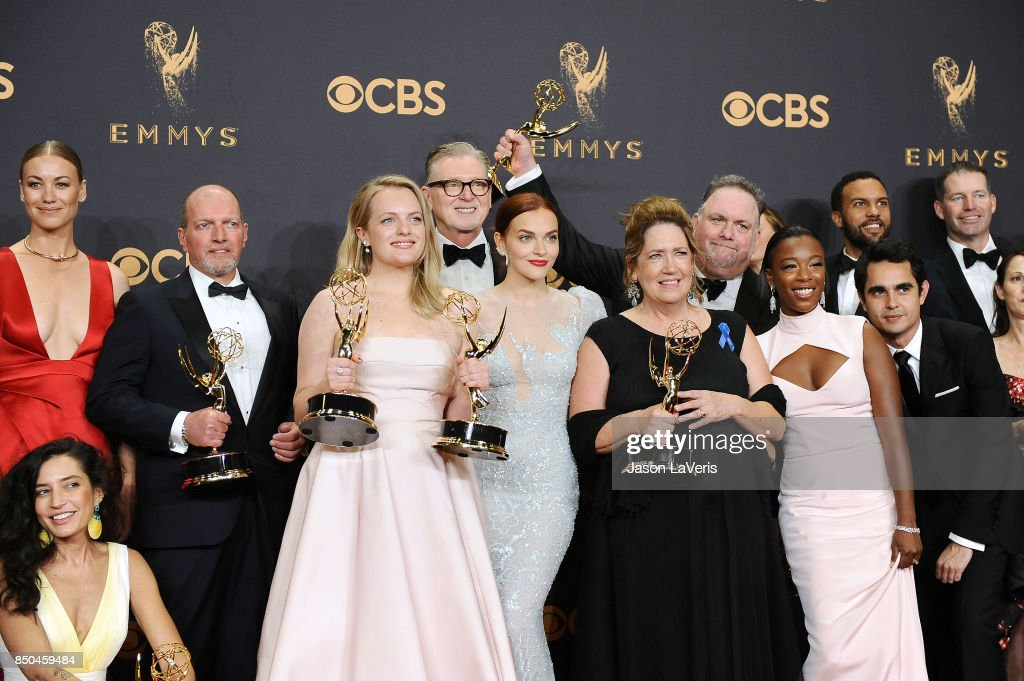 Reed Morano, Yvonne Strahovski, Elisabeth Moss, Warren Littlefield, Madeline Brewer, Ann Dowd, Bruce Miller, Samira Wiley, Max Minghella and O-T Fagbenle attend the 69th annual Primetime Emmy Awards at Microsoft Theater on September 17, 2017 in Los Angeles, California.