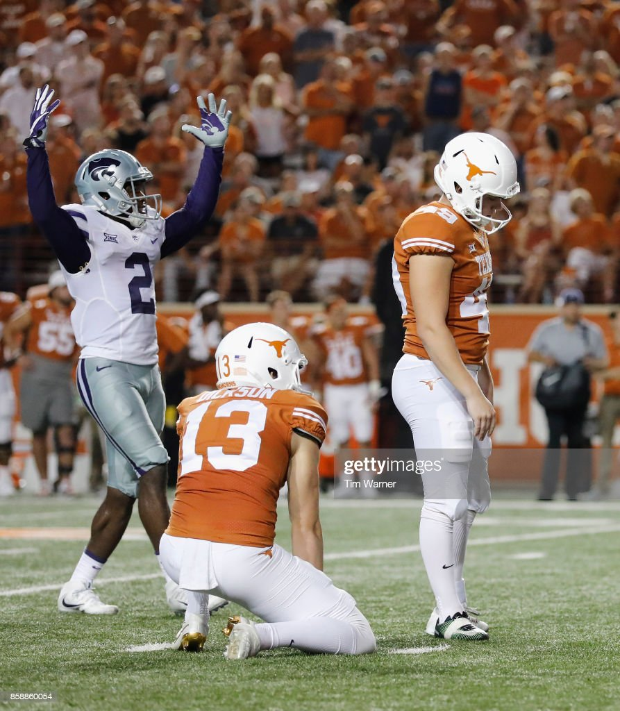 D.J. Reed #2 of the Kansas State Wildcats reacts after Joshua Rowland #49 of the Texas Longhorns missed a field goal in the fourth quarter at Darrell K Royal-Texas Memorial Stadium on October 7, 2017 in Austin, Texas.