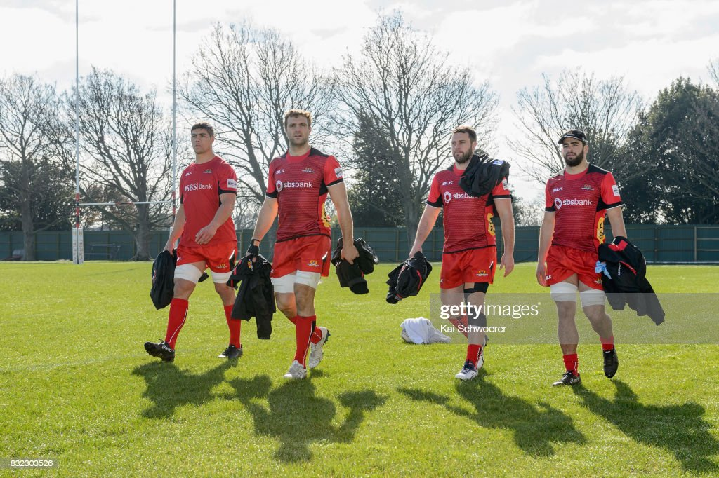 Reed Prinsep and Luke Whitelock (L-R) look on following a Canterbury Rugby training session at Rugby Park on August 16, 2017 in Christchurch, New Zealand.