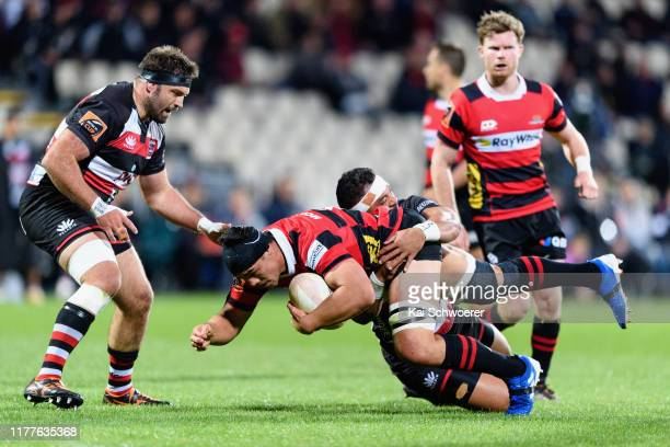 Reed Prinsep of Canterbury is tackled during the round 8 Mitre 10 Cup match between Canterbury and Counties Manukau at Orangetheory Stadium on...
