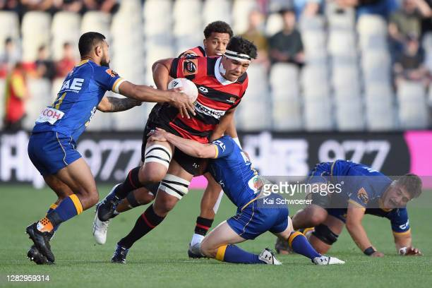 Reed Prinsep of Canterbury is tackled during the round 8 Mitre 10 Cup match between Canterbury and Otago at Orangetheory Stadium on October 30, 2020...