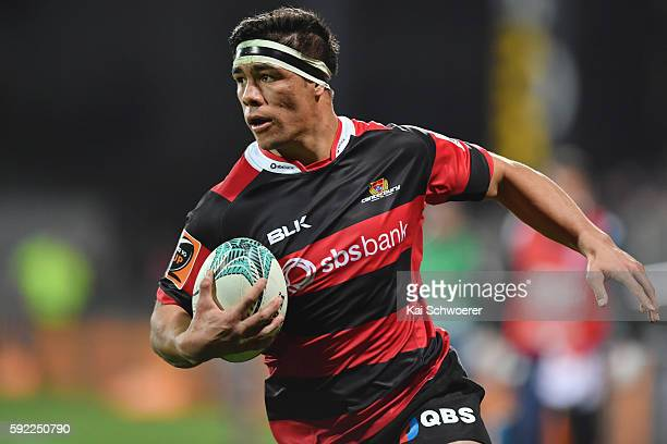 Reed Prinsep of Canterbury runs thorugh to score a try during the round one Mitre 10 Cup match between Canterbury and Auckland at AMI Stadium on...