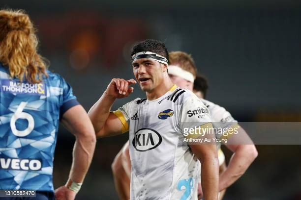 Reed Prinsep of the Hurricanes looks on during the round 6 Super Rugby Aotearoa match between the Blues and the Hurricanes at Eden Park, on April 03...