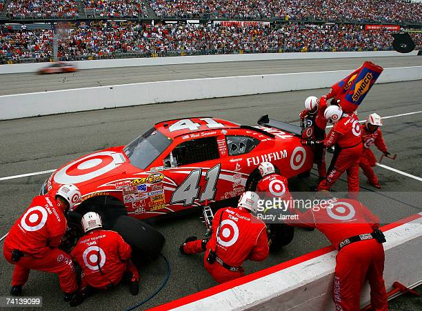 Reed Sorenson, driver of the Target Dodge, makes a pit stop during the NASCAR Nextel Cup Series Dodge Avenger 500 on May 13, 2007 at Darlington...