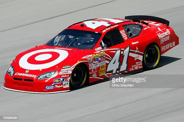 Reed Sorenson driver of the Target/Maxwell House Dode drives during practice for the NASCAR Nextel Cup Series USG Sheetrock 400 at Chicagoland...