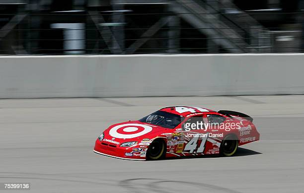 Reed Sorenson driver of the Target/Maxwell House Dodge drives during practice for the NASCAR Nextel Cup Series USG Sheetrock 400 at Chicagoland...