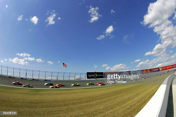 Reed Sorenson driver of the Target/Maxwell House Dodge leads a pack of cars during the NASCAR Nextel Cup Series USG Sheetrock 400 at Chicagoland...