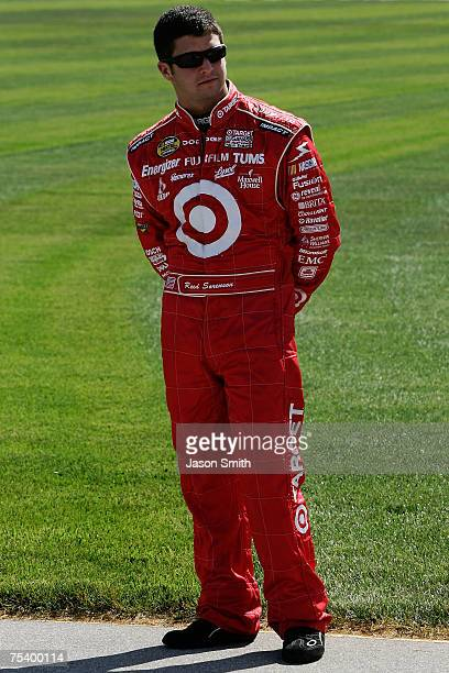 Reed Sorenson driver of the Target/Maxwell House Dodge looks on during qualifying for the NASCAR Nextel Cup Series USG Sheetrock 400 at Chicagoland...