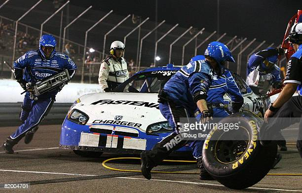 Reed Sorneson driver of the Fastenal Dodge makes a pit stop during the NASCAR Nationwide Series MissouriIllinois Dodge Dealers 250 on July 19 2008 at...